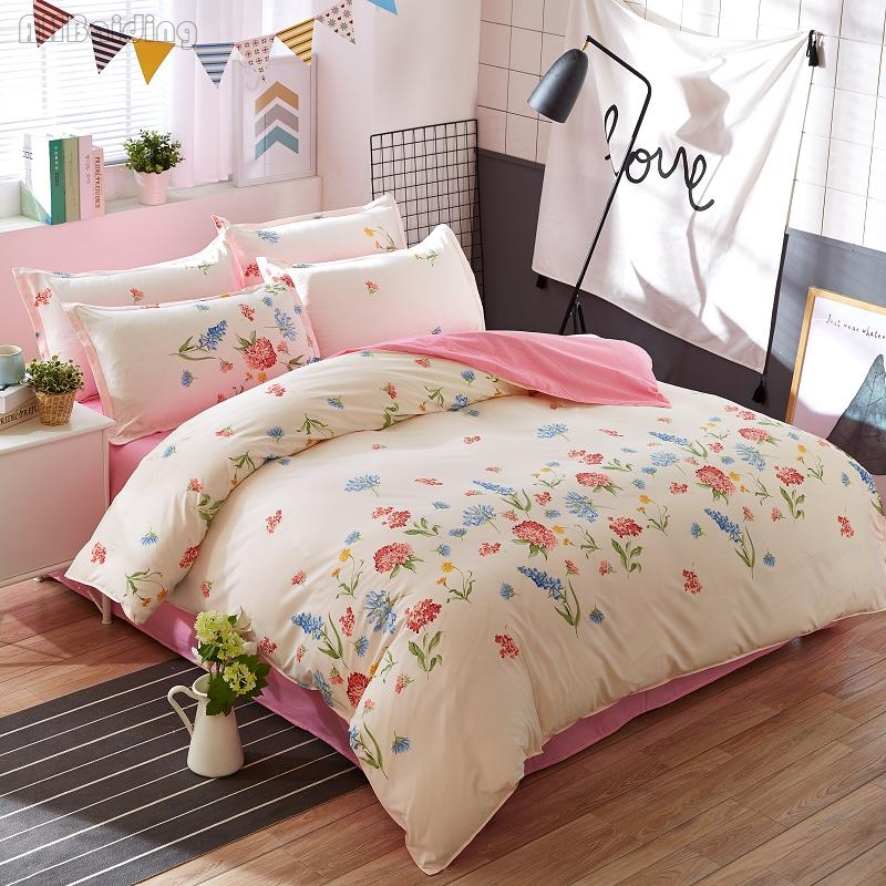 Pastoral Romantic Lavender Printing Duvet Cover Set with Bed Sheet Pillowcase Twin Full Queen King Size Bedding Set BedLinen Hot