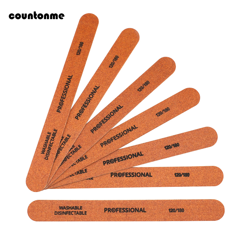 2018 New Professional Wooden Nail Files Grit 120/180 Brown Sandpaper 10pcs Double-sided Washable Emery Board Sanding Nail Files
