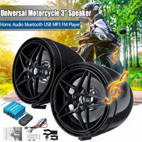 3 Inch Black 12V Universal Sound System USB MP3 FM Player Motorcycle Audio Remote Control Stereo 2 Speakers with Controller