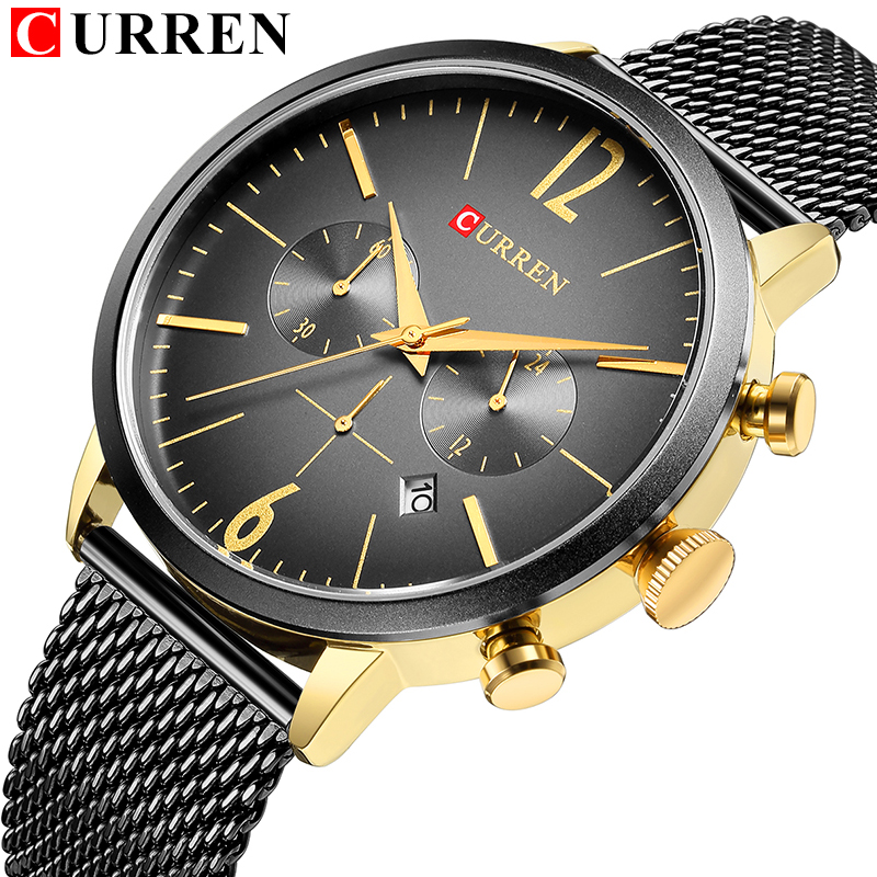 цена на Top Luxury Brand Quartz Watch Men Gold Full Steel Mesh band Sport Chronograph Date Clock Male Business Wrist Watch Unique