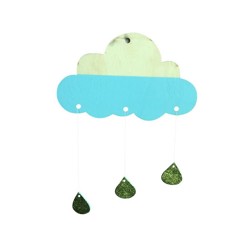 Wooden Cloud Raindrop Hanging Decorations DIY Baby Kids Room Decor Wall Stickers Wall Art Decor For Baby Shower