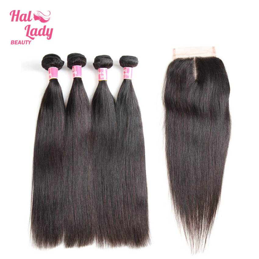 Halo Lady Beauty 4 Pcs Brazilian Straight Human Hair With Closure Middle Part Lace Closure with Baby Hair Remy Hair Bundles