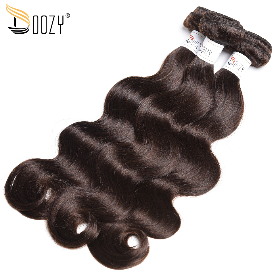 Doozy Body Wave Brazilian Human Hair 3 Bundles Dark Brown Ombre Color 2 Remy Human Hair Weave