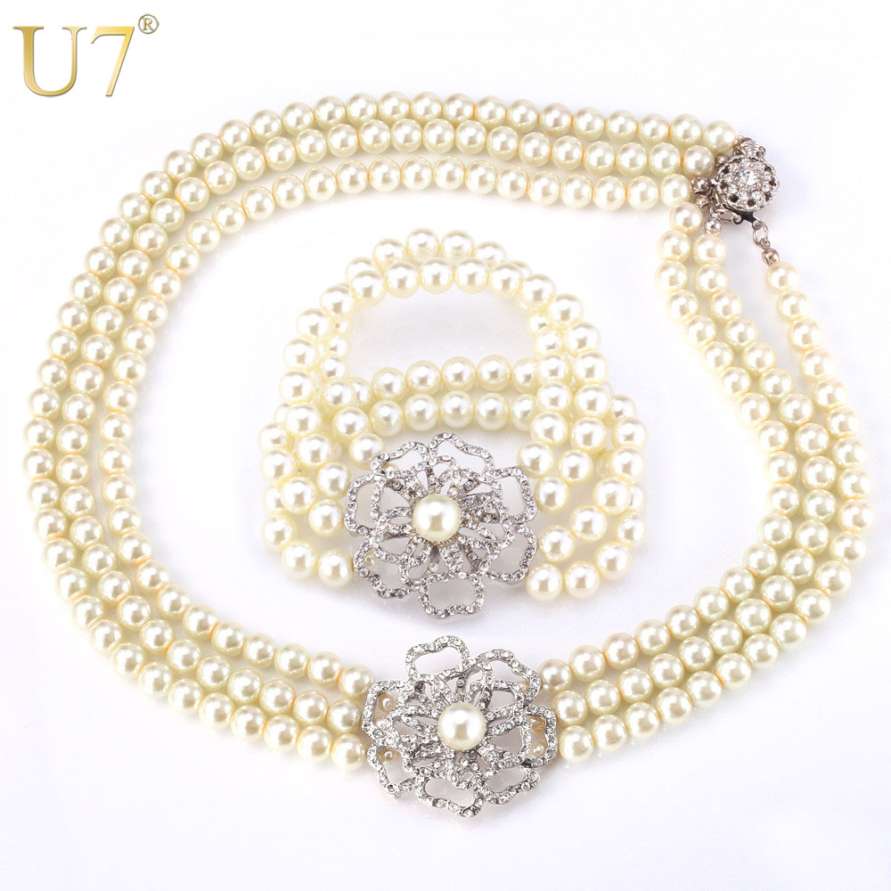 U7 Simulated Pearl Necklace Set For Women Trendy Party Necklace Bracelet Rhinestone Jewelry Sets S535 trendy letter heart round rhinestone bracelet for women