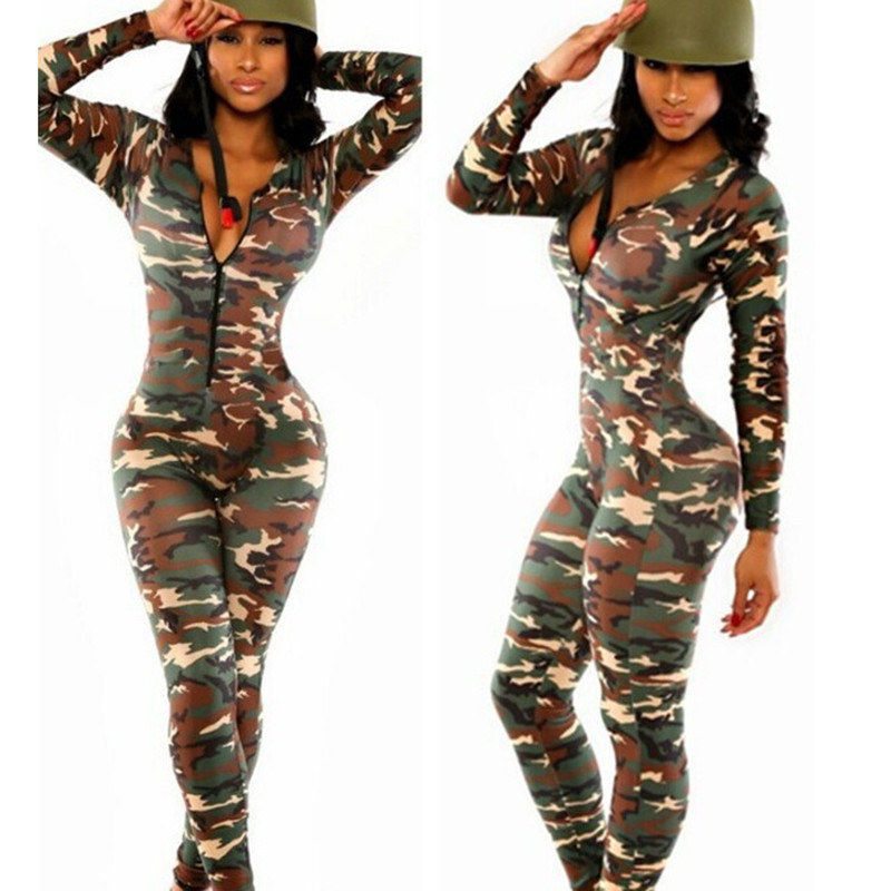 2f4951a7a3e7 Women Romper Be Stretchy Bodysuit Overalls Big Size Rompers Womens Jumpsuit  Camouflage Jumpsuit Romper Fitness Slim Bodysuit -in Jumpsuits from Women s  ...