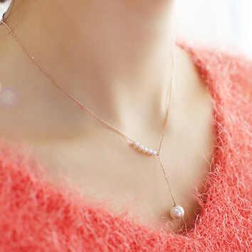 Bijoux coréens tempérament doux accessoires imitation collier de perles femme clavicule fine chaîne déclaration collier Csgo