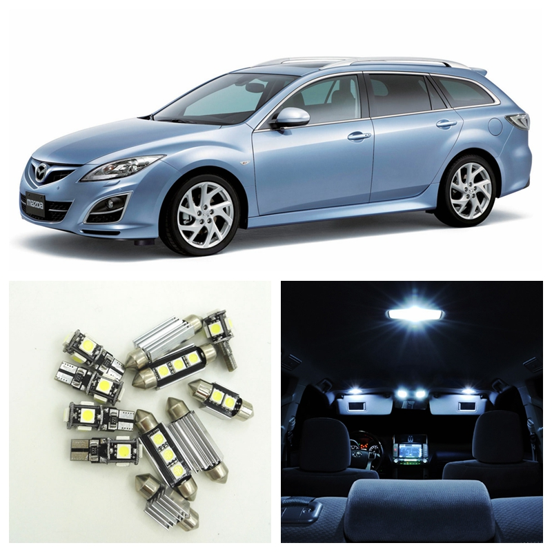 12pcs White LED Light Bulbs Interior Package Kit For 2003 2004 2005 2006 2007 2008 Mazda 6 Map Dome License Plate Lamp 1pair canbus free led car license plate light number plate lamp for opel vectra c estate 2002 2003 2004 2005 2006 2007 2008