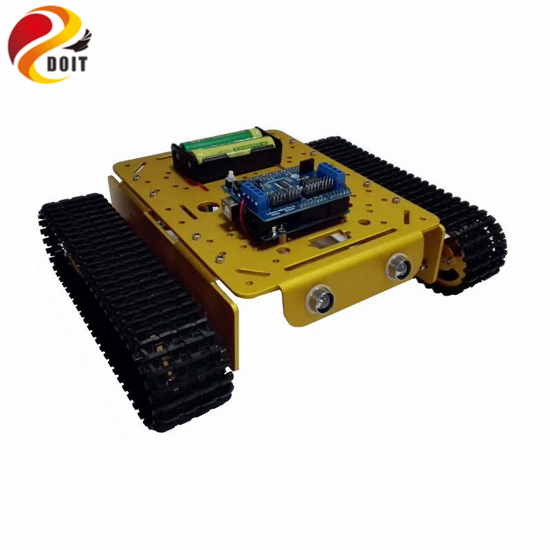 DOIT WiFi Metal Tank T200 by Android/ios Phone from ESPDUINO Development Kit with 2-way Motor & 16 way Driven Shield for Arduino