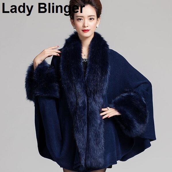 New arrival Lady Blinger faux fox fur collar cuffs decor super long women wraps fur ponchos fur shawl stole faux chamere cape