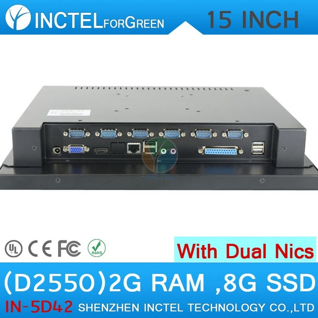 """2015 new arrival windows XP 15"""" LED touch screen All-in-One pc with 2*RJ45 COMPUTER"""