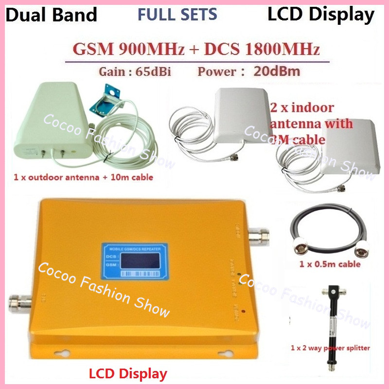 US $121 4 6% OFF|Full Sets High Power Dual Band GSM 900MHz DCS 1800MHz  Mobile Phone Signal Booster Amplifier Repeater + 2 sets gsm 4g antenna-in  Phone