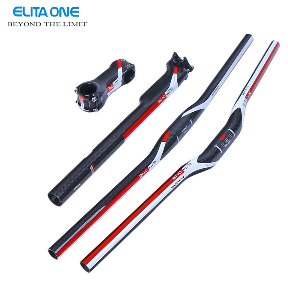 ELITA ONE Mtb carbon handlebar carbon bar set Carbon MTB Handlebar Bicycle Stem+ Carbon seatpost tube + Flat/Riser Handlebar specials 100% original fcfb fw mtb bar set bicycle stem carbon seatpost flat or riser carbon handlebar flat 720 120g
