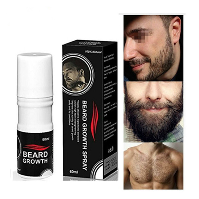 60ml Organic Men Face Beard Growth Spray Mens Grooming Hair Loss Product Mustache Thicker Fuller Men Beard Oil Styling Spray Kit 1