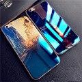 Luxury soft tpu para iphone 6 7 plus 5 5S sí cubierta azul de rayos de silicona volver caso cáscara del teléfono carcasas para apple iphone 6 s Capa