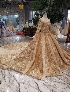 Image 3 - Gold Ball Gowns Wedding Dresses 2020 Boat Neck Lace up Pattern Chapel Train Saudi Arabia Elegant Long Sleeves Bridal Gowns