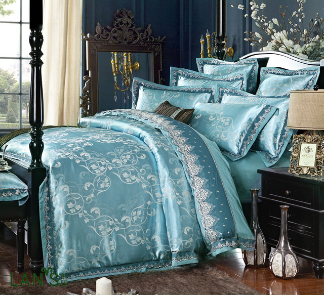 2016 Luxury Sparkle Blue Jacquard Satin 4pcs Bedding Sets Chic Lace Duvet Cover Bed Sheet Pillowcases