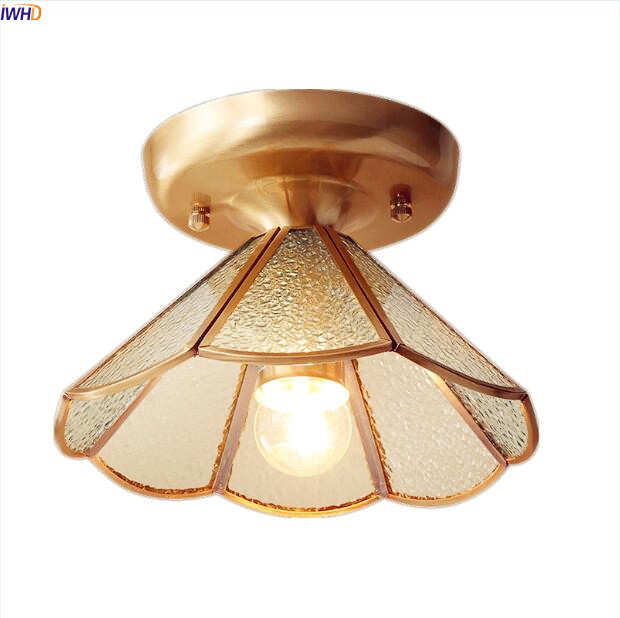 IWHD Glass Copper LED Ceiling Light Hallway Balcony Porch American Country Vintage Ceiling Lamps For Home Lampara Techo iwhd europe vintage glass led ceiling lights for kitchen hallway balcony copper ceiling lamp plafonnier led lamparas de techo