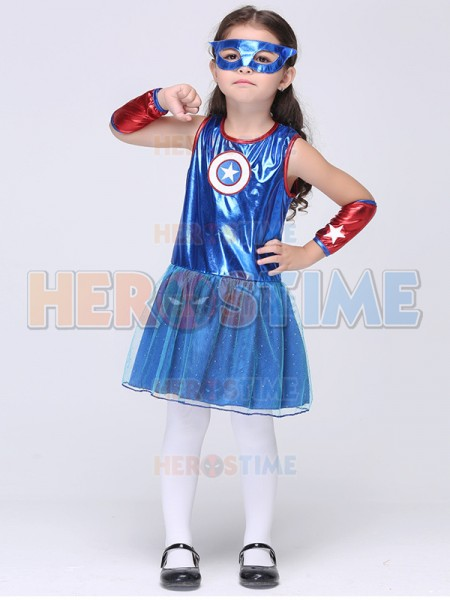 New Captain America Girl's Fancy Dress Halloween Kids Superhero Cosplay Costume