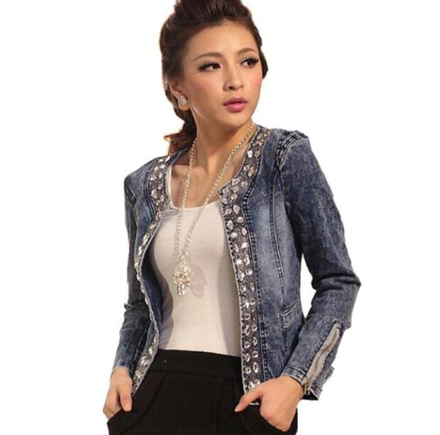 Fashion Women Diamonds Denim Jacket Coat Ladies Jacket Tops Slim Jeans Casaco Top Plus Size Blazer