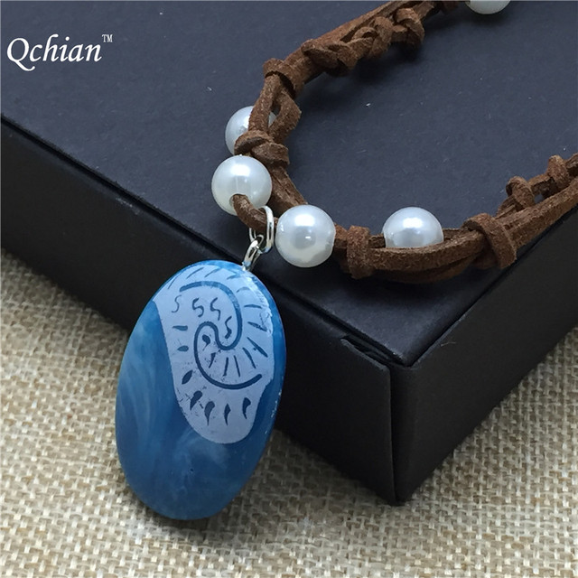 Movie Princess Moana Necklace Cosplay Pendants blue Stone Moana Necklaces for Ki