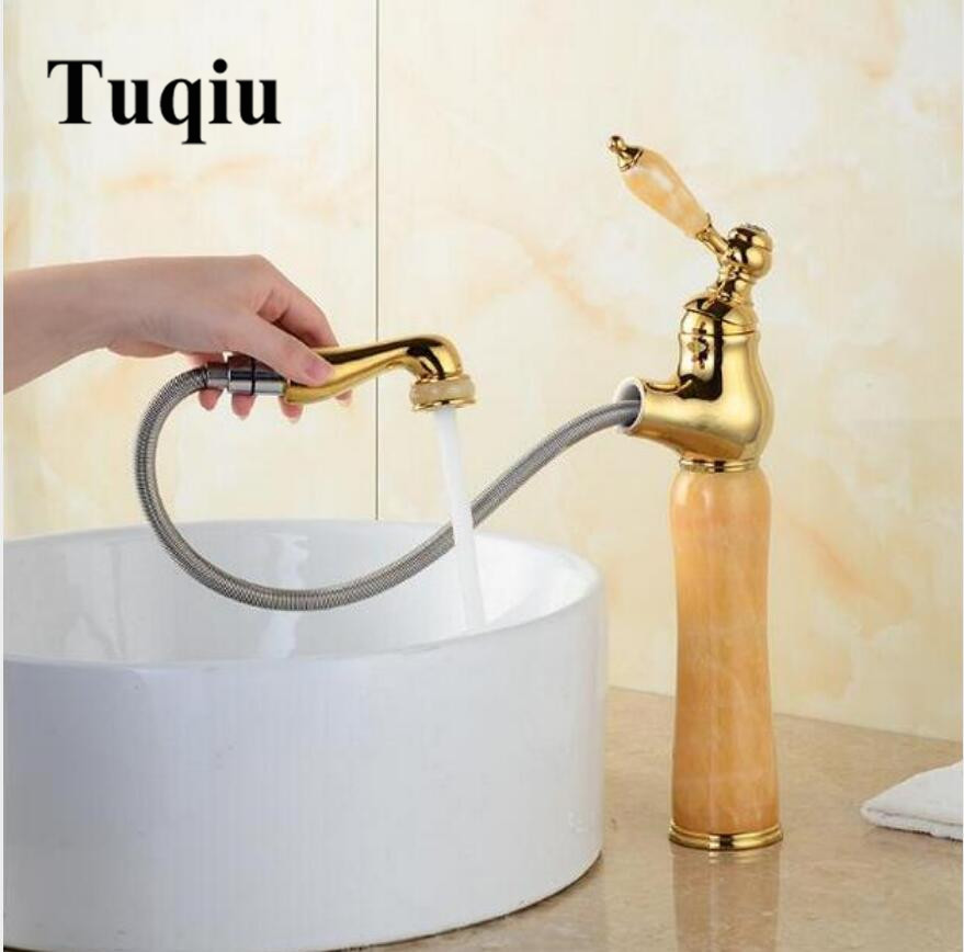 fashion jade and brass construction gold finished Water Crane bathroom basin faucet,sink tap mixer with pull out shower head new jade and brass faucet gold finished pull out bathroom basin faucet luxury sink tap basin mixer with shower head water tap