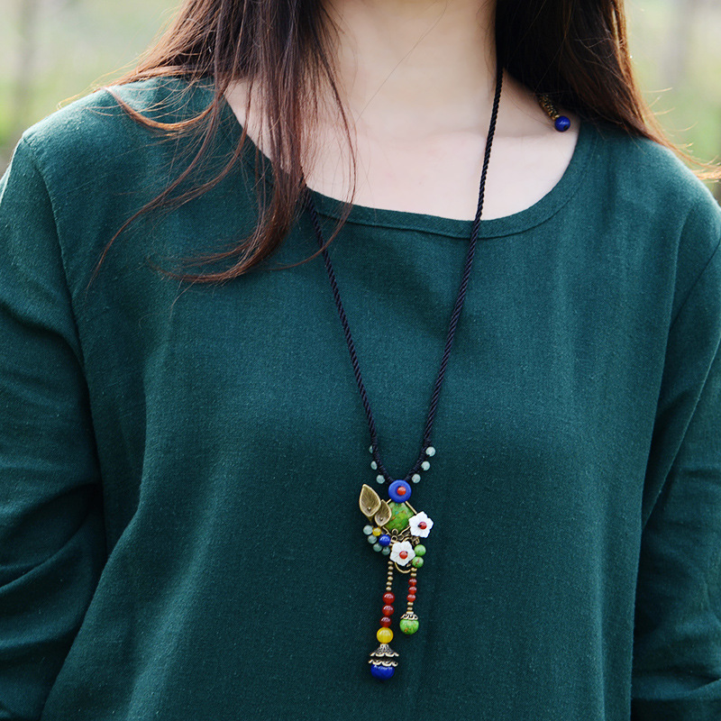 Ethnic long Necklace for Women green turkey stone Copper Shell Flower red carnel