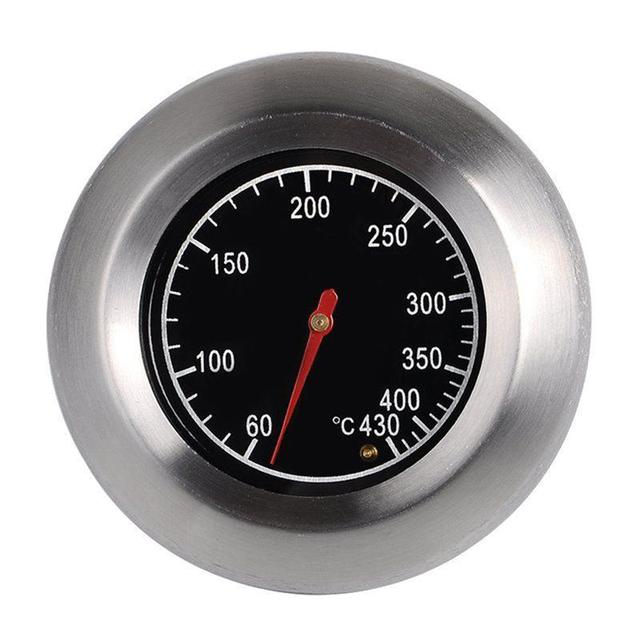 LUOEM 7.6cm Outdoor Stainless Steel BBQ Oven Thermometer Temp Gauge Oval Shaped BBQ Thermometer Controller Outdoor