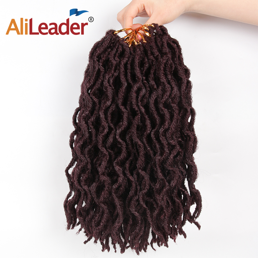 AliLeader Faux Locs Curly Crochet Braids 12 18Inch Soft Natural Black 99J Synthetic Hair Extension 20 Stands/P Faux Locks Hair