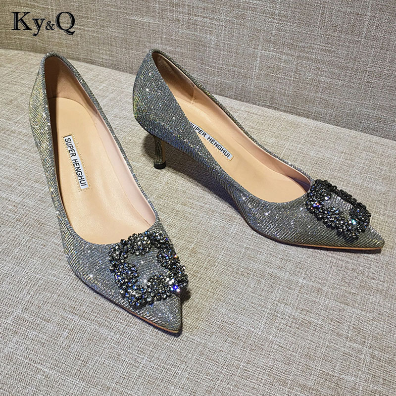 2018 New Sexy Lady Pointed Toe Diamond Shining Square Button Buckle Pumps Elegant Woman Party Wedding High Heel Shoes 6cm2018 New Sexy Lady Pointed Toe Diamond Shining Square Button Buckle Pumps Elegant Woman Party Wedding High Heel Shoes 6cm