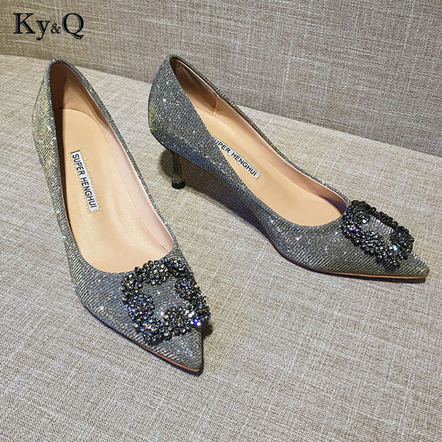 9da07002fa2 US $37.58 41% OFF|2018 New Sexy Lady Pointed Toe Diamond Shining Square  Button Buckle Pumps Elegant Woman Party Wedding High Heel Shoes 6cm-in  Women's ...
