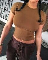 Momoluna Woman New 2017 summer solid simple khaki crop top cropped vetement t-shirt tee top shirt femme dresses tee shirt femme