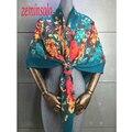 Nueva Marca de Moda de Lujo Bufandas De Las Mujeres Envuelve 120*120 cm Mujeres Bufanda de Seda Chal Bandana Imprimir Pura Mujeres bufandas Chales Hijab