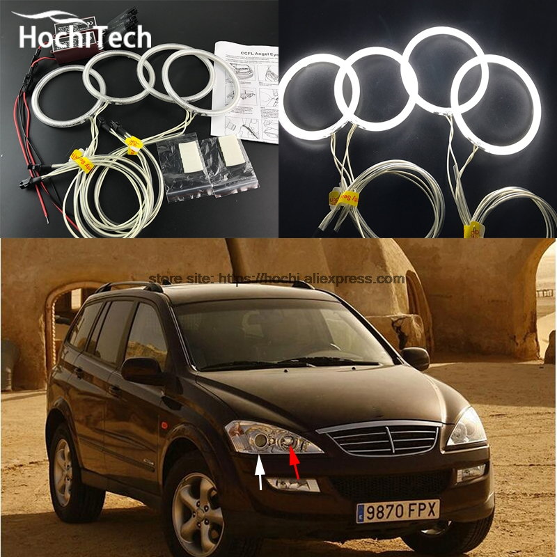HochiTech WHITE 6000K CCFL Headlight Halo Angel Demon Eyes Kit angel eyes light for SsangYong Kyron 2007 2008 2009 2010