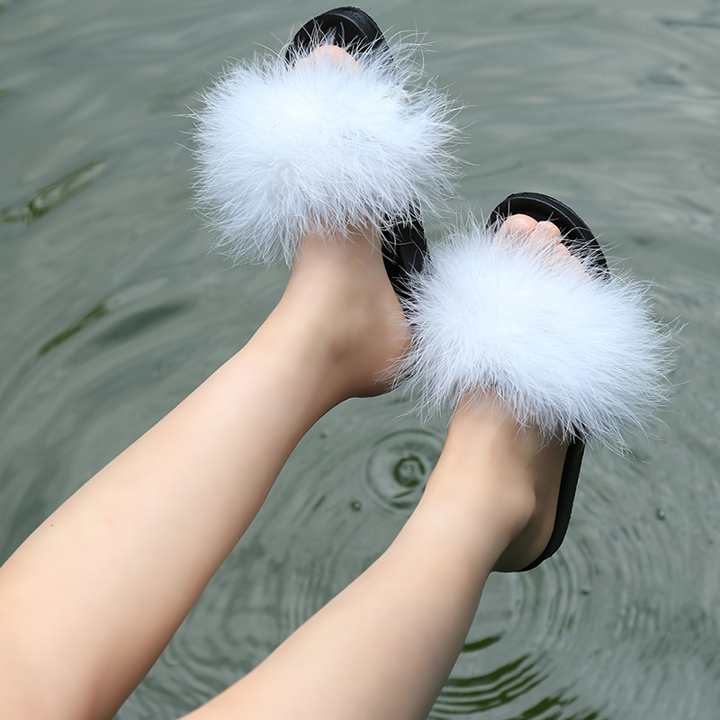 464df14fcbc Fur Furry Slide Sweet Ostrich Feather Thick Bottom Beach Female Sandals  Hair Flip Flops Women Home Slippers Indoor Soft RD888888