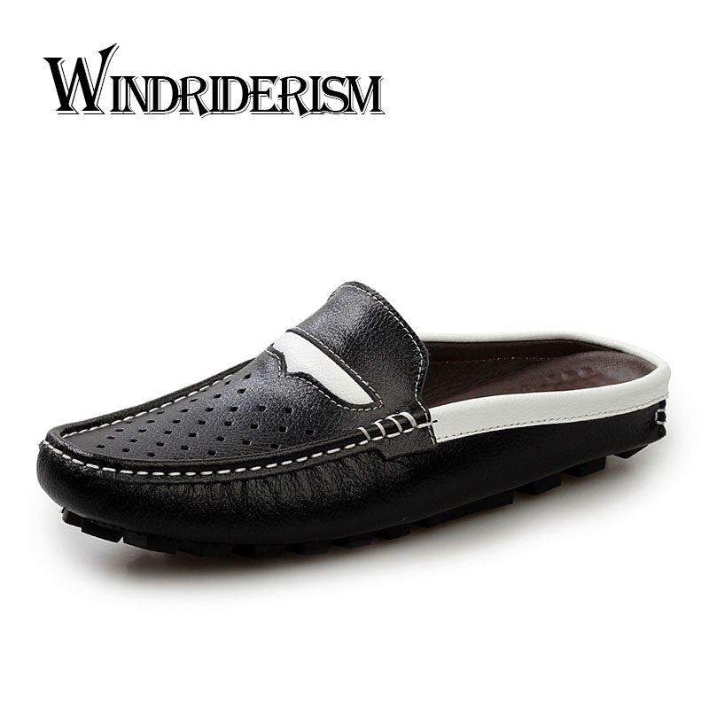 New 2016 Summer Men Sandals Designer Genuine Leather Mens Flats Cowhide Slippers Outdoor Man Beach Walking Casual Shoes