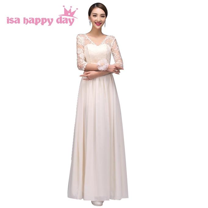 ladies champange lace appliques long modest prom dress gown special ...