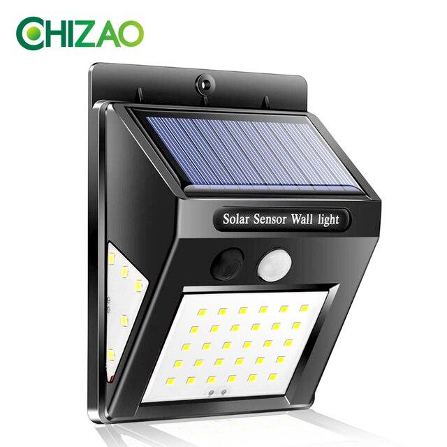 CHIZAO 40 LED Otdoor Solar Wand Lampe PIR Motion Sensor Wasserdichte Licht Garten Licht Pfad Sicherheit Beleuchtung 3 Seitige Leucht