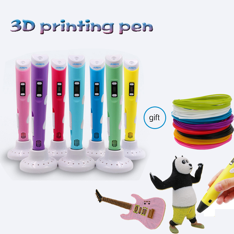2016 New Design High Quality 3D Printing Pen With Free Filament 3D Pen Best Gift For Kids Printer Pens + 30M Supplies