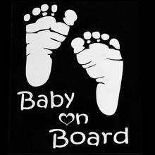 New Refective Car Sticker Lovely Letter Baby on Board Baby Footprints Stickers Auto Safety Warning Window Sticker Black White(China)