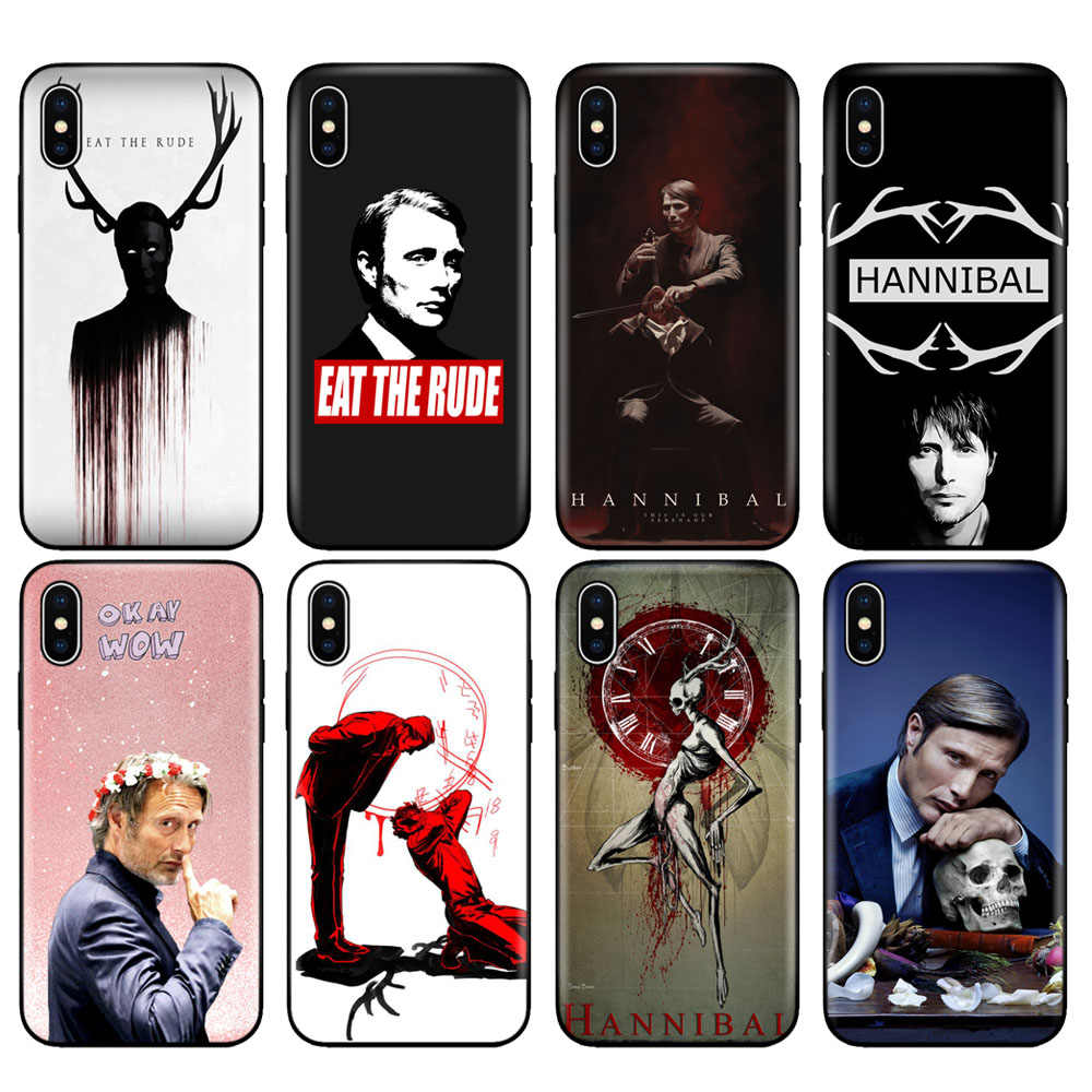 Black tpu case for iphone 5 5s se 6 6s 7 8 plus x 10 case silicone cover for iphone XR XS MAX case Hannibal eat the rude