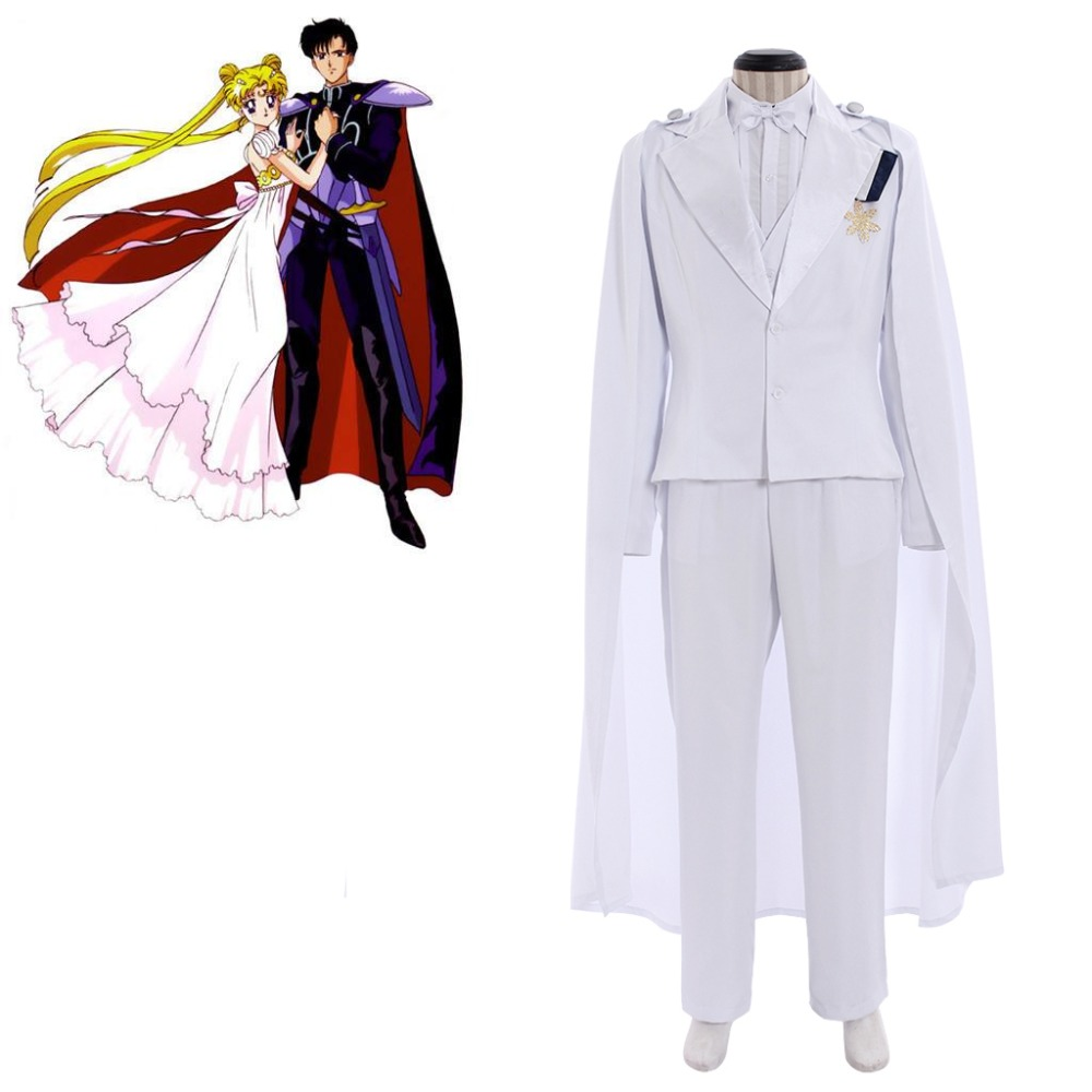 Cosplayidy Anime Sailor Moon Chiba Mamoru Cosplay Costume Sailor Moon Tuxedo Mask Mens White Costume With Cloak L320