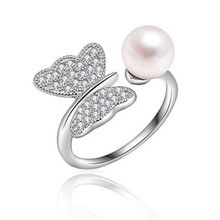 2016 Fashion Pearl Ring Jewelry Of Silver Butterfly Ring Perfect Circle Pearl Wedding Rings 925 Sterling Silver Rings For Women