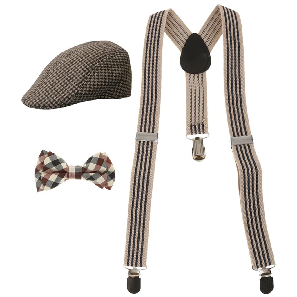 1 Set New Fashon Elastic Kids Y-back Suspender Clip-on Braces+Necktie +Beret Cap Hats Set Adjustable Free For The Body