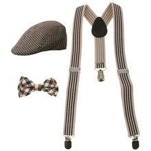 1 juego nuevo de moda elástico niños espalda Y Clip de suspensión en tirantes + corbata + gorra de boina sombreros conjunto ajustable libre para el cuerpo