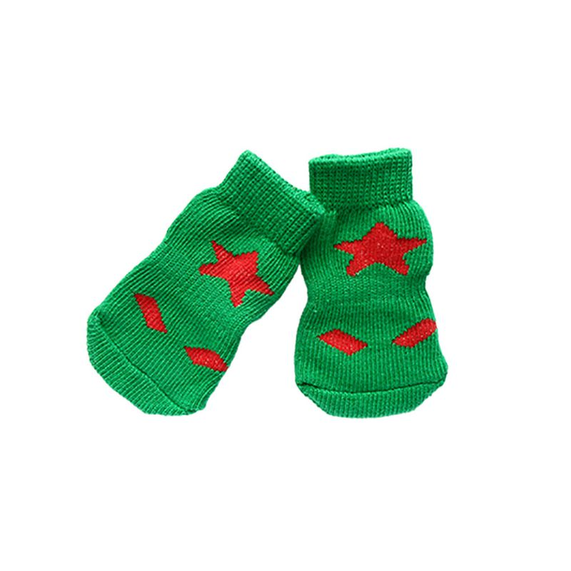 Pet Dog Puppy Warm Knit Cozy Indoor Anti Slip Dog Boots Socks 4 Size Hot Sale