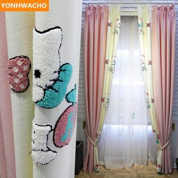 Custom curtains Cute pink princess room cotton linen children's girl bedroom cartoon cloth blackout curtain tulle drapes B272