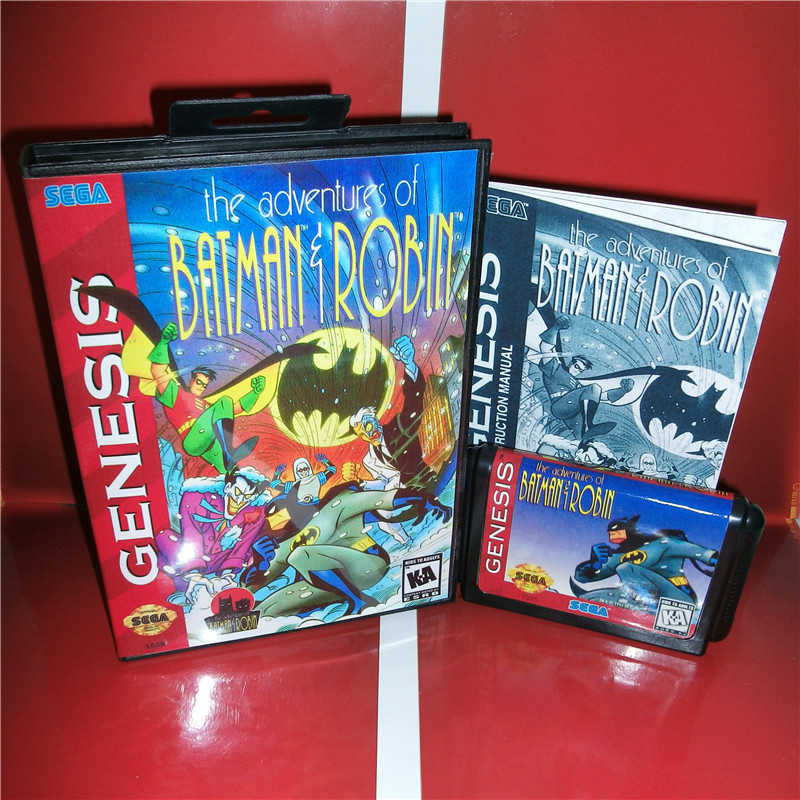 The adventures of Batman and Robin US Cover with box and manual For Sega Megadrive Genesis Video Game Console 16 bit MD card image
