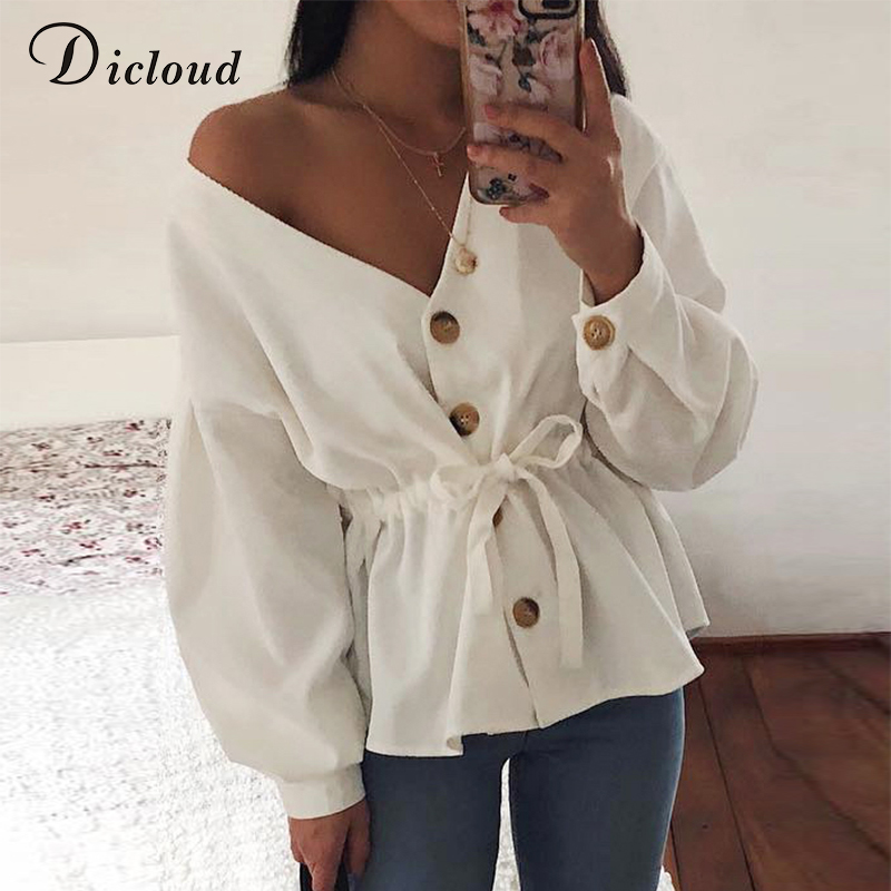 DICLOUD V Neck Casual Corduroy Shirt Women Autumn Long Lantern Sleeve Sexy Drawstring Top Fashion 2019 Womens Tops And Blouses
