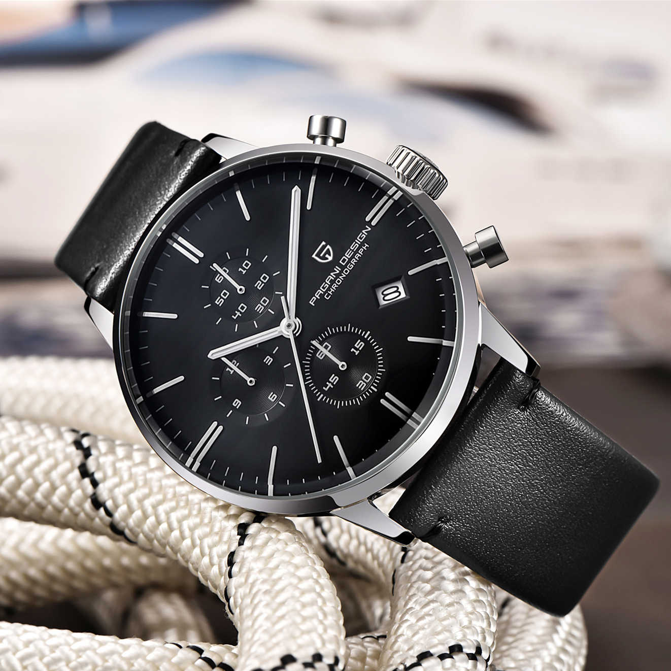 Pagani design masculino moda casual marca relógio à prova dwaterproof água simples couro cronógrafo relógios de quartzo presentes aniversário para o marido