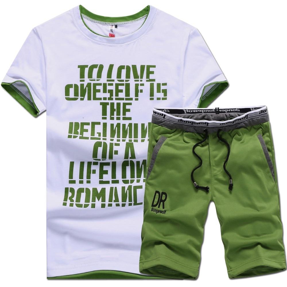 Majice blagovne znamke oblačila majica moške homme črka natisnjena športna oblačila set M-4XL 2017 majica obleka moška